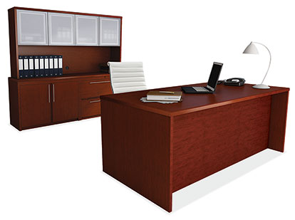 Wood Desk With Credenza And Hutch Officewerks Of